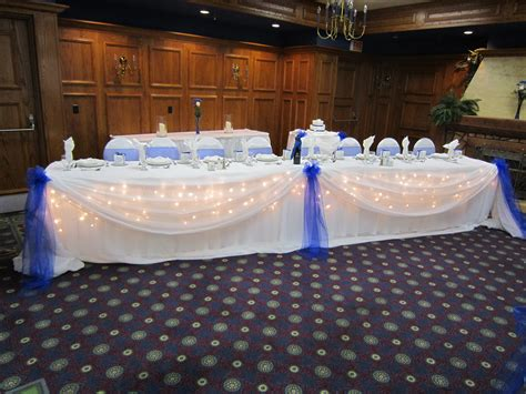 blue and white table crystal centerpieces set the mood decor