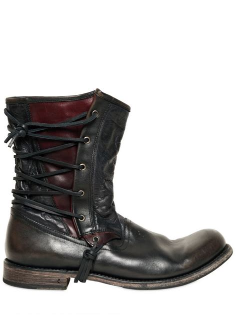 mens leather pirate boots varvatos 20mm lace up leather pirate boots in black