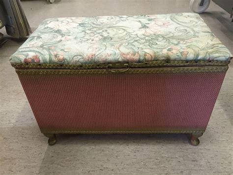lloyd loom ottoman a vintage lloyd loom original pink ottoman storage