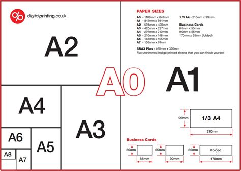 printed font size chart guide to common brochure paper sizes a4 a5 a3 dl 210