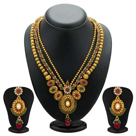Three String Choker buy fancy gold plated three string necklace set for