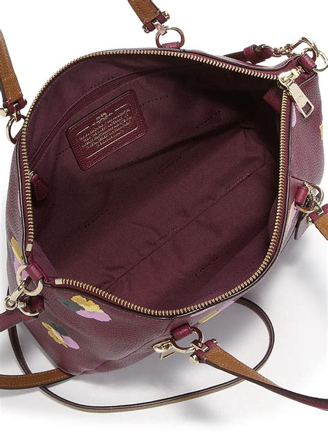 Coach Flowery coach prairie floral print leather satchel in purple lyst