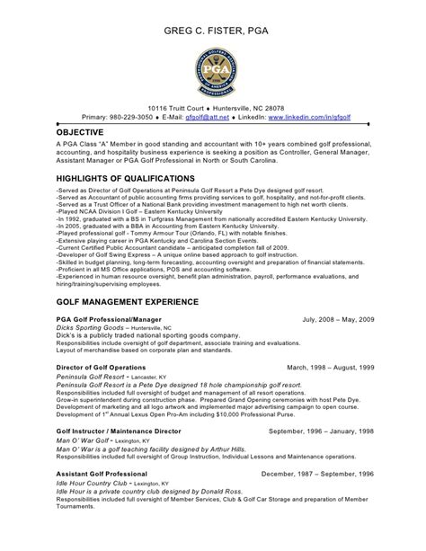 golf resume template 28 images 51 resume templates