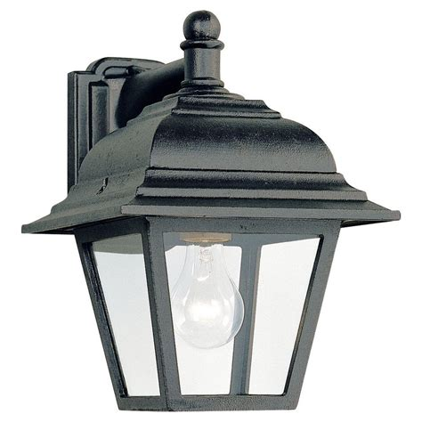 home depot exterior light fixtures sea gull lighting lancaster 1 light antique brushed nickel outdoor wall fixture 8067 965 the