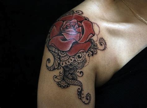rose lace tattoo 61 lace shoulder tattoos