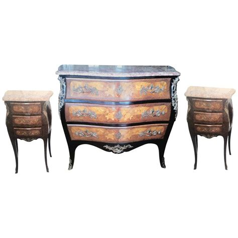 louis xv marquetry commode and pair of bed side tables