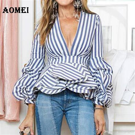Blue Ruffle Puff Blouse 2018 puff sleeve blue white stripe blouse shirts ruffles