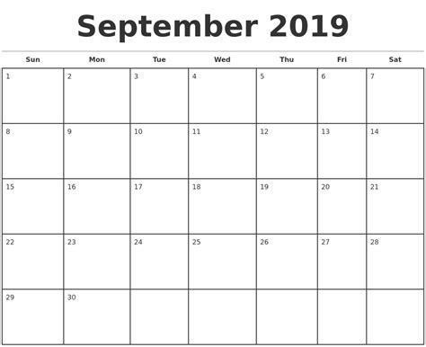 september monthly calendar template