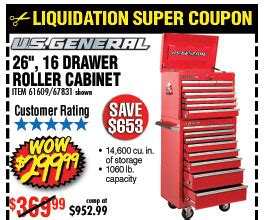 26 in 16 drawer glossy roller cabinet combo savings coupons at harbor freight tools