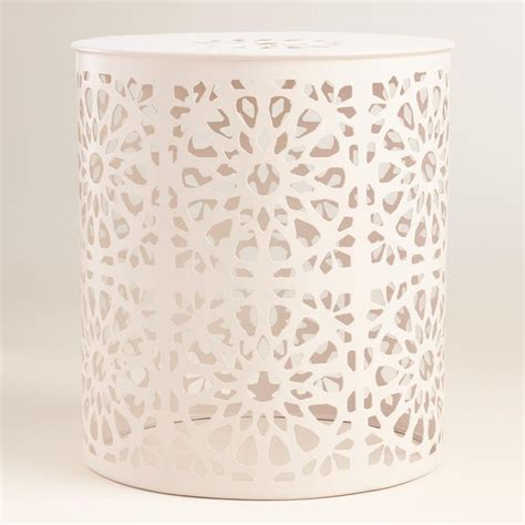 Garden Stool World Market by White Metal Soleil Drum Stool Gardens Cost Plus And Drums
