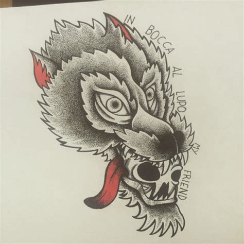 old school wolf tattoo design grey old school wolf with hanging tongue tattoo design