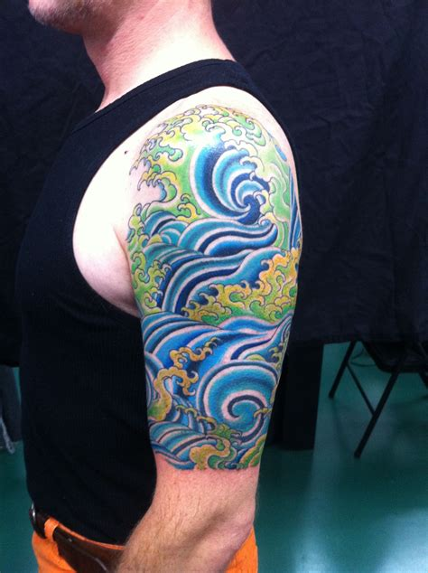 water themed tattoos water half sleeve with colors watercolour