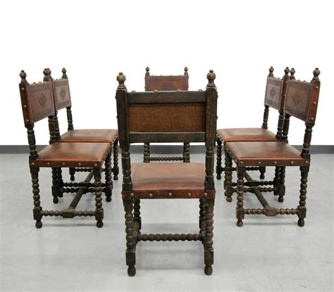 set of six antique spanish colonial sted leather dining