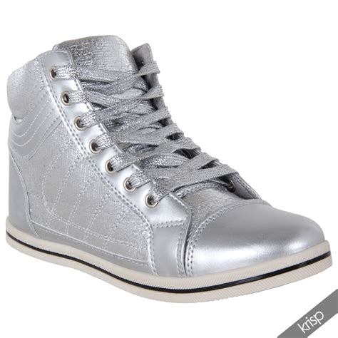 flat metallic shoes womens shiny patent leather metallic flat ankle trainers