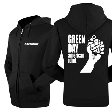 Jaket Zipper Hoodie Sweater Logo Abu green day classical logo new jacket zip up hoodie by
