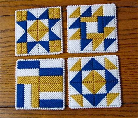 White And Gold Quilt Quilt Block Coasters Blue Gold White Set Of 4 By Nanaletha