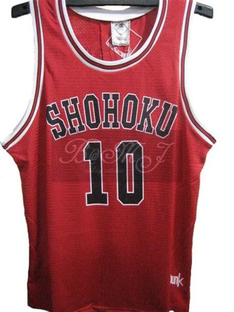 Kaos Anime Slam Dunk Shohoku 10 slam dunk shohoku away no 10 sakuragi hanamichi jersey ebay