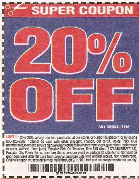 harbor freight coupons 20 off printable 20 coupon for harbor freight tools wicked ticketmaster