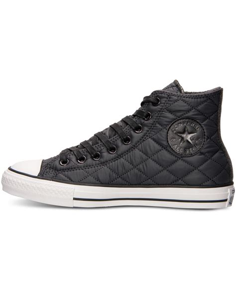 Sepatu Converse Black White Sneakers Casual converse unisex chuck hi quilted casual sneakers from finish line in black for