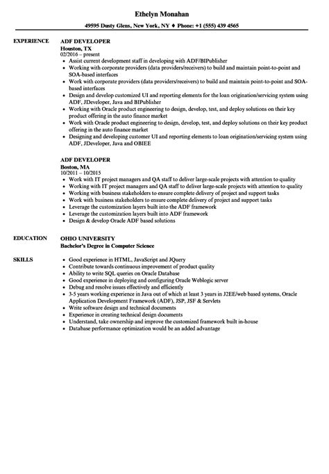 adf developer objective resume ymca volunteer sle
