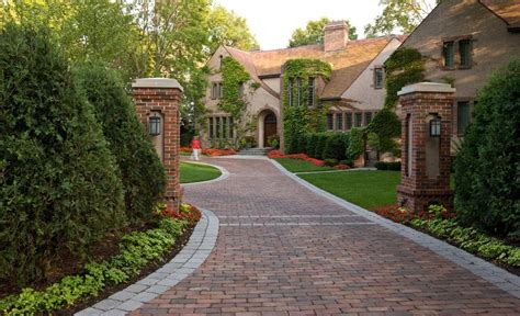 driveway entrance ideas exterior traditional with paver edging double column shingle style house