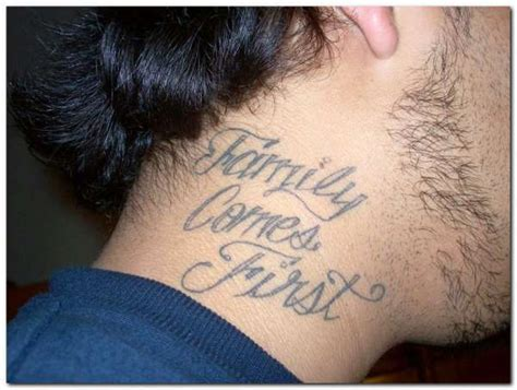 family comes first tattoo designs 45 words neck tattoos
