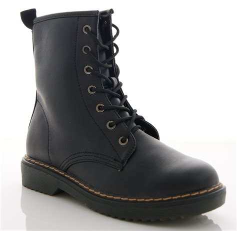 leather combat boots womens womens faux leather patent combat worker biker doc
