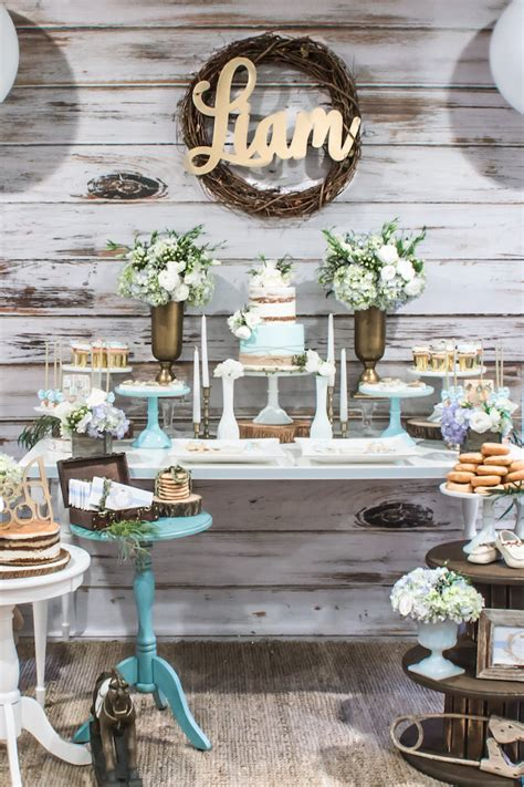Rustic Baby Shower Theme by Kara S Ideas Blue Rustic Chic Baby Shower Kara S