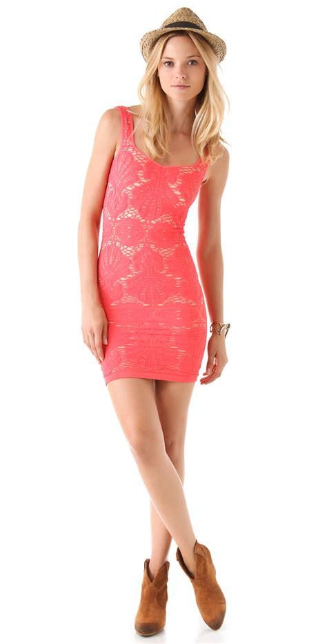 Dress Slid Pink lyst free seamless sweetheart slip dress in pink