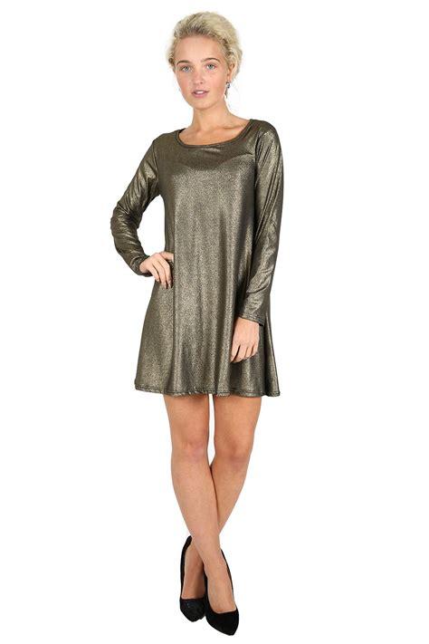 glitter swing dress womens swing dresses ladies christmas metallic glitter