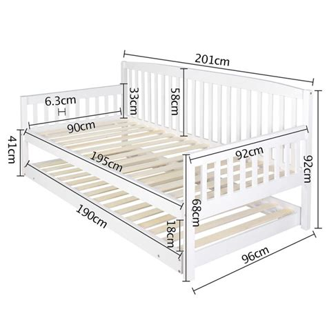 Wood Trundle Bed Frame Wooden Sofa Day Bed Frame W Foldable Trundle White Buy 30 50 Sale H A N D Y