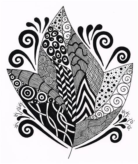 pattern drawing black zentangle leaf 2 drawing by nancy tellier