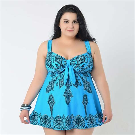 bathing suits for heavy people 2015 new plus size swimwear swimsuit printed women summer