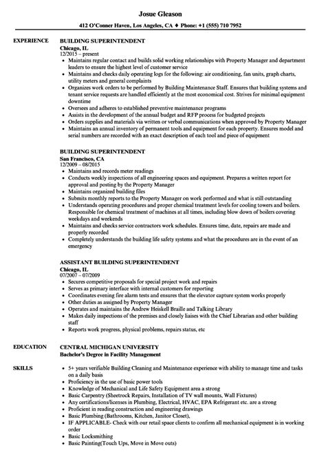 superintendent resume template building superintendent resume resume ideas