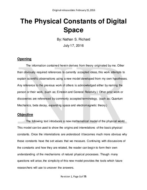 Rev 1 - The Physical Constants of Digital Space