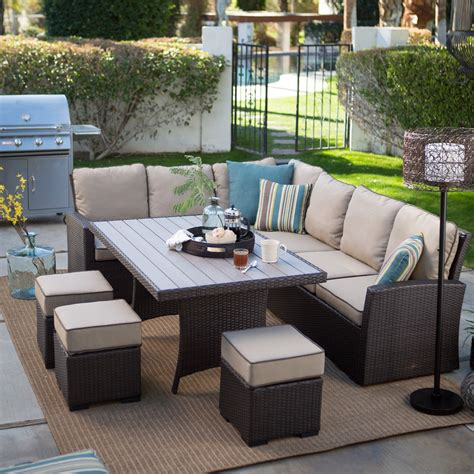 patio furniture set belham living monticello all weather wicker sofa sectional patio dining set patio dining sets