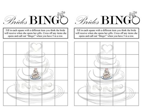 Blank Bingo Card Template For Bridal Shower by 5 Best Images Of Free Printable Blank Bridal Bingo