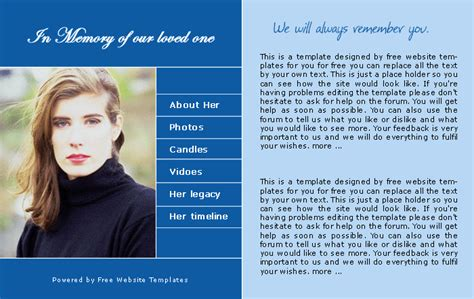 a memorial web template free website templates