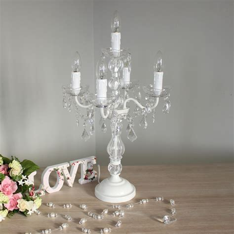 White Chandelier Table L White Glass Vintage Style Candelabra Table L Home