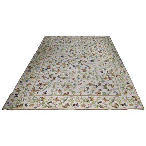 butterfly rugs vintage needlepoint butterfly rug at 1stdibs