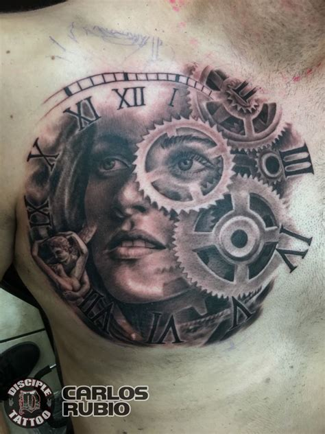 eye tattoo kerri chandler carlosrubio mother time black and grey clock gears womans