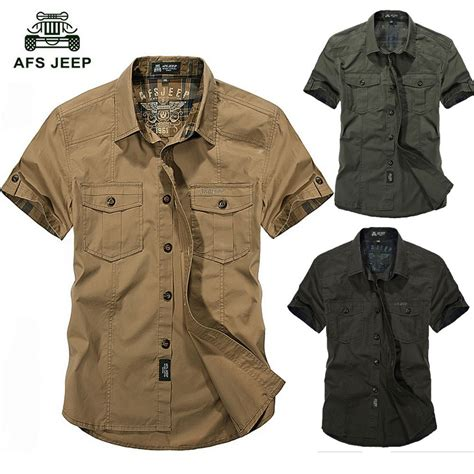 afs jeep cotton shirts solid summer plus size outdoor