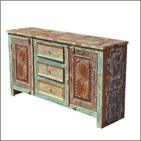 Rustic Wood Distressed 3 Drawer Storage Cabinet Sideboard Dining Buffet Cabinets