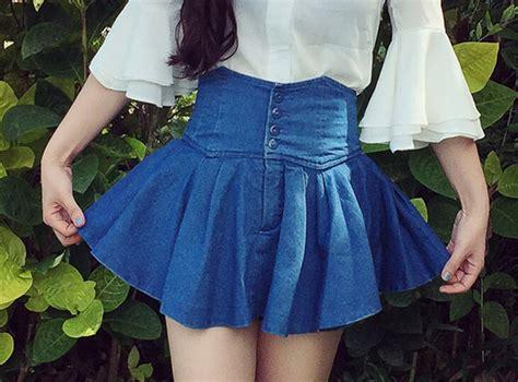 inset skirt shorts blue color inset shorts high waist denim skirt