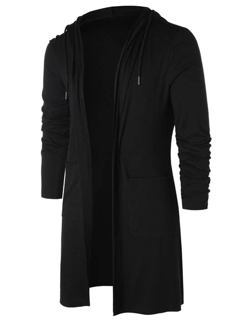 Open Front Hooded Cardigan cardigans sweaters black m longline open front hooded