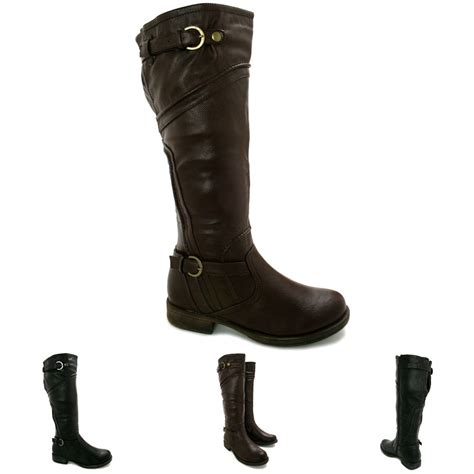 new womens block heel buckle knee high wide calf biker