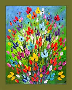 colorful flower painting textured flower by