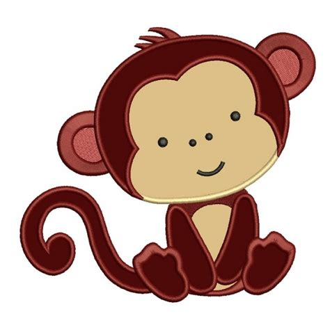 monkey applique monkey birthday number 1 applique machine embroidery design