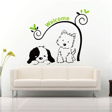 cat wallpaper home decor cat dog welcome wall stickers removable wall decal