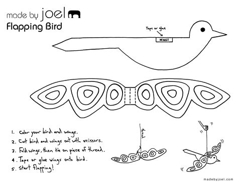 Paper Bird Craft Template - made by joel 187 flapping paper bird